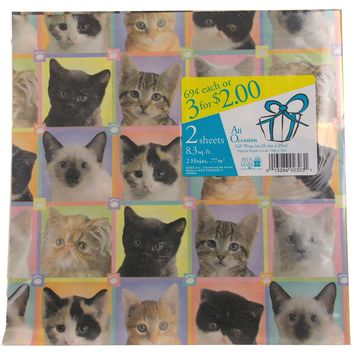 Plus Mark All Occasion Gift Wrap Cats Kittens 8 Pkgs 66.4 sq ft