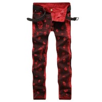 Red Skull 💀 👖 Pattern Print Slim Fit Biker Jeans