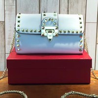 VALENTINO Women Shopping Leather Shoulder Rivets  Bag  C-3A-XNRSSNB White