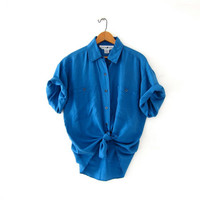 vintage blue silk shirt. oversized silk blouse. short sleeve silk pocket shirt. slouchy silk shirt. loose fit silk shirt.