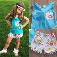 Children Baby Girls T-shirt Vest Tops and Short Pants Shorts Outfits Clothes Set