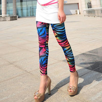 Colorful Zebra-stripe Leggings Print