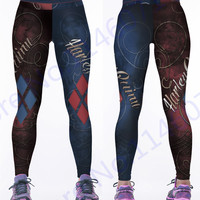 Red Harleen Quinzel Rugby Baseball Training Trousers Harley Quin Yoga Workout Pants Blue Running Leggings Women Fitness Tights