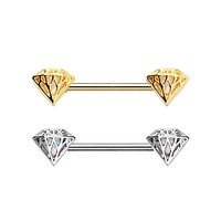 Silver & Gold Sparkling Diamond Revo Inlay Nipple Barbell Ring