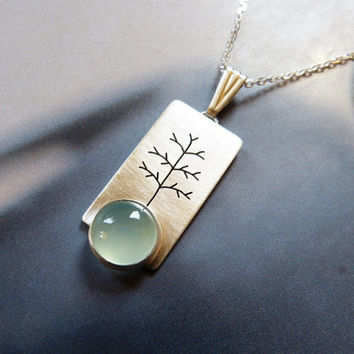 Tree necklace with aqua chaldedony, Sterling silver pendant, metalwork jewelry