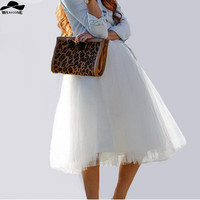 New Puff Women Chiffon Tulle Skirt White faldas High waist Midi Calf Chiffon plus size Grunge Jupe Female Tutu Skirts