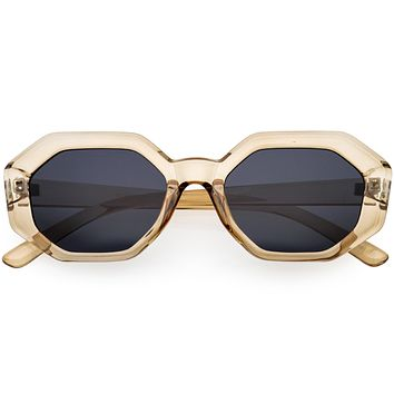Retro Inspired Chunky Polygon Geometric Sunglasses D214