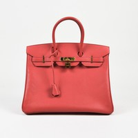 "Hermes ""Bougainvillier"" Red ""Epsom"" Leather ""Birkin 35"" Bag"