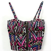 Tribal Print Zip Up Bustier Crop Top in Pink