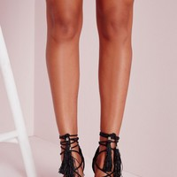 Missguided - Lace Up Tassel Block Heeled Sandals Black