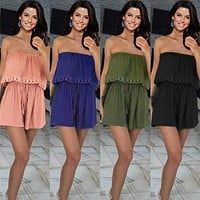 Fashion Casual Solid Color Sleeveless Lace Frills Strapless Mini Dress