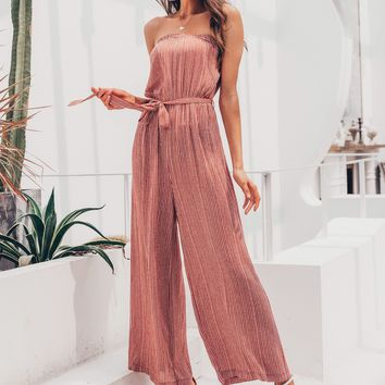 Simplee Striped Belted Wide Leg Tube Jumpsuit