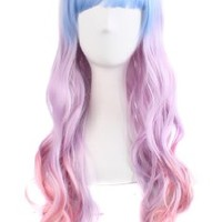 "MapofBeauty 24"" Wavy Multi-Color Lolita Cosplay Wig Party Wig (Light Blue/ Light Purple/ Pink)"