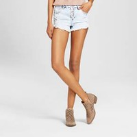 Women's High Waisted Exposed Button Jean Shorts - Almost Famous (Juniors')