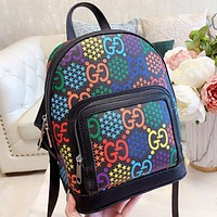 GUCCI New fashion more letter star print leather book bag handbag backpack bag Black