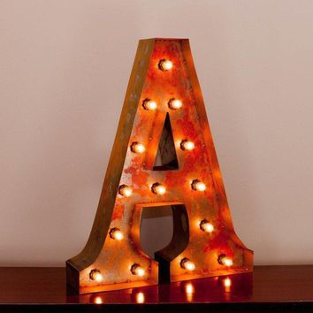 """24"""" Letter A Lighted Vintage Marquee Letters with Screw-on Sockets"""