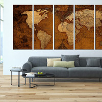 world map canvas art print, old vintage world map wall art, large canvas print, extra large wall art, world map vintage canvas art t40