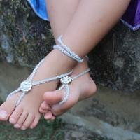 Splendid Silver Crocheted Baby Barefoot Sandals