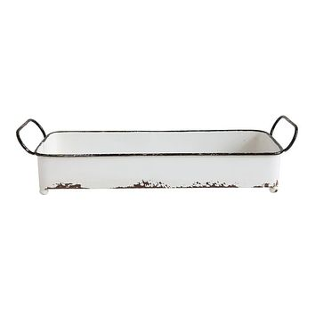 Decorative Metal Rectangle Tray | White Distressed Enamel Finish 16-in