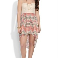 Dress with Crochet Bodice and Tribal Chiffon High Low Skirt
