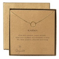 Women's Dogeared 'Reminder - Karma' Pendant Necklace - Gold Circle