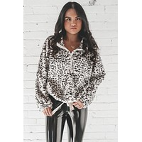 Growl Down White And Gray Leopard Print Sherpa Top