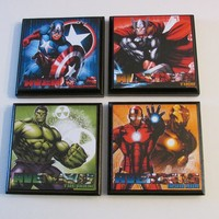 Avengers Room Wall Plaques - Set of 4 Avengers Boys Room Decor - Avengers Wall Signs