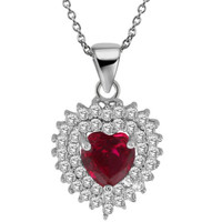 """2.34 Ct Heart Shape Red Created Ruby 925 Sterling Silver Pendant with 18"""" Chain"""