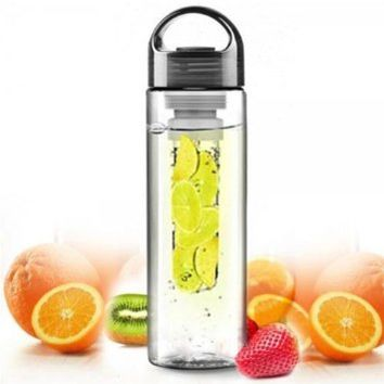 NYKKOLA Sports Health Fruit Infuser Infusing Water Bottle Cup Lemon Juice Make Bottle for Sport Outdoor Running Hiking Camping Home Office School(7BK)