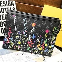 Inseva LV Louis Vuitton New fashion monogram multicolor leaf floral leather couple file package cosmetic bag handbag Black