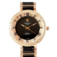 ROLEX 2019 new women's fashion simple and simple wild quartz watch Black