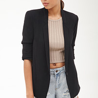 FOREVER 21 Ruched-Sleeve Textured Blazer