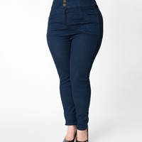 Collectif Plus Size Navy Blue Denim Nomi High Waisted Button Up Jeans