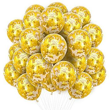 PartyWoo Gold Balloons 20 pcs 12 Inch Gold Confetti Balloons