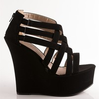 Criss Cross Wedge Sandals - Black at Lucky 21 Lucky 21