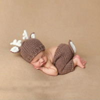 Newborn Deer Photography Props Woolen Knitting Baby Cotton Hat Pants Unisex Boy/Girl Set For 0-4 Months Baby Photography Props