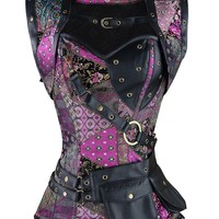 Atomic Multi Colored Steel Boned Steampunk Overbust Corset