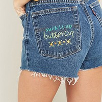 Urban Renewal Vintage Customised Buttercup Embroidered Perfect Raw Edge Shorts - Urban Outfitters