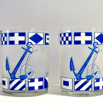 Vintage Culver Glasses Nautical Signal Flags Anchors Rocks Glasses Signed Barware Blue and White