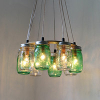 THINK GREEN Mason Jar Chandelier - Upcycled Hanging Mason Jar Lighting Fixture Direct Hardwire - BootsNGus Lamps Rustic Home Decor