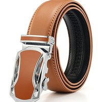 """Xhtang Men's Jefferson Buckle with Automatic Ratchet Leather Belt 35mm Wide 1 3/8"""""""