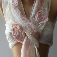 pink Cotton Rose Shawl/ Scarf - Headband -Cowl with Lace Edge