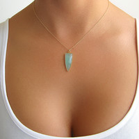 Aqua Chalcedony Arrowhead Necklace