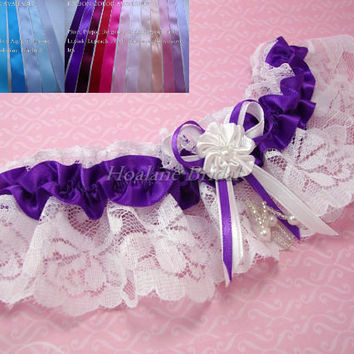 Lace Wedding Garter, Wedding/Prom garter, Purple Wedding garter, tossing garter
