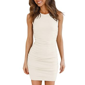 Women's Casual Crew Neck Ruched Tank Dress Sleeveless Stretchy Bodycon Short Mini Dresses