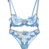 Fashion Cherry Embroidery Flowers Lace Lingerie Set Transparent Underwear Women Plus Size D Cup Sexy Bra Panty Sets Pink Bow