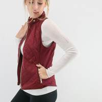 Mystic Forest Wine Burgundy Quilted Puffer Vest