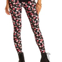 Cotton Floral Printed Leggings by Charlotte Russe - Pink Combo