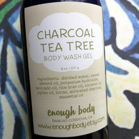 Activated Charcoal Tea Tree Body Wash Gel ~ Shower Gel ~ Liquid Body Soap ~ Body Shampoo