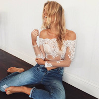 Lace word shoulder sexy long-sleeved T-shirt